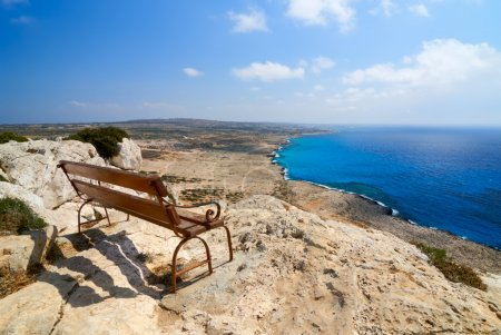 Bench with a view over Mediterranean Sea. Cape Gre...