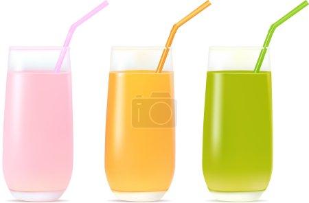 Illustration pour Trois cocktails vectoriels photo réalistes avec goût de fraise, d'orange et de pomme . - image libre de droit