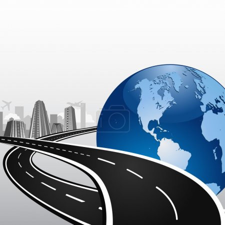 Illustration for Vector illustration of the crossing higways with the big world sphere icon symbolizing international business traveling - Royalty Free Image